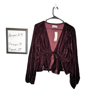 NWT Urban Outfitters Drew Velvet Tie Front Top
